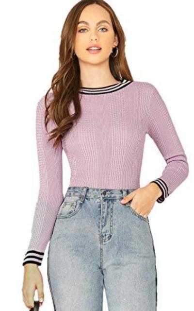 WDIRARA Stripe Solid Knit Slim Top