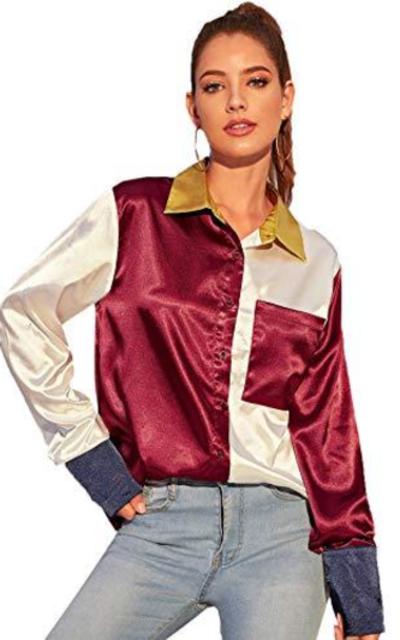 Verdusa Button Up Blouse Top Multicolor