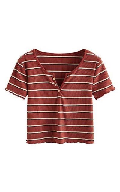 SweatyRocks Solid Stripe V Neck Short Sleeve Knit Crop Top Tee