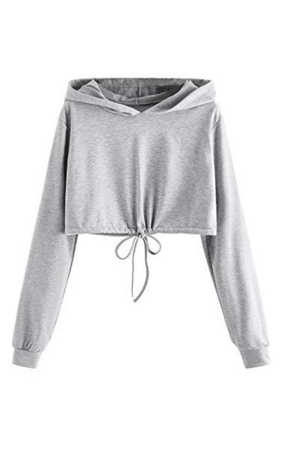 SweatyRocks Drawstring Hem  Crop Top Sweatshirt