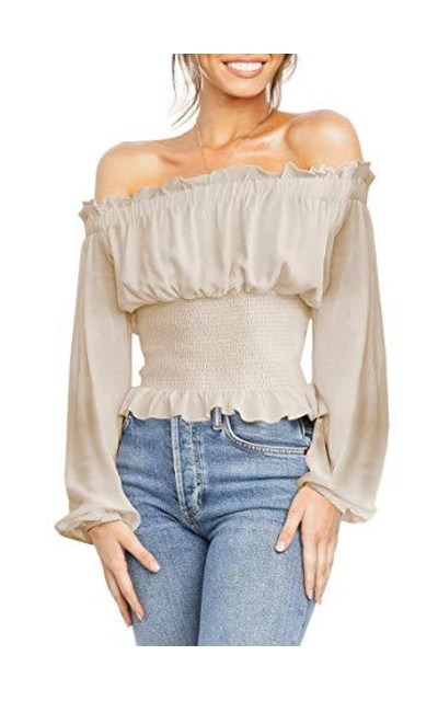 ZESICA Off Shoulder Lantern Sleeve Tops