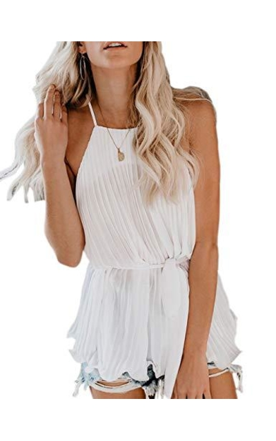 CILKOO Pleated Cami Tank Top