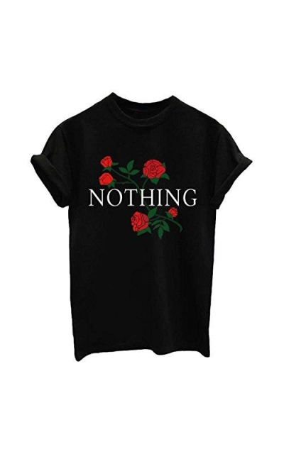BLACKMYTH Rose Print Short Sleeve Top