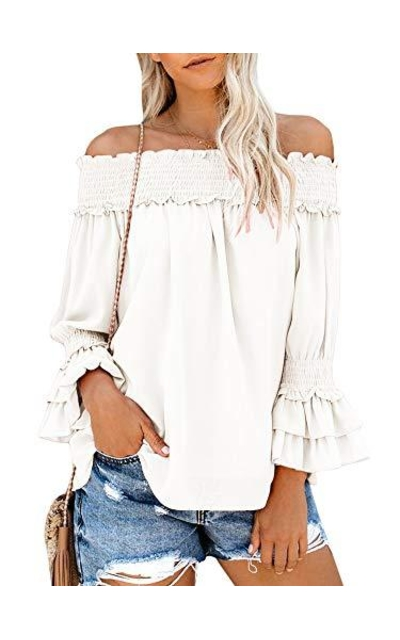Bigyonger Ruffle Off Shoulder Top