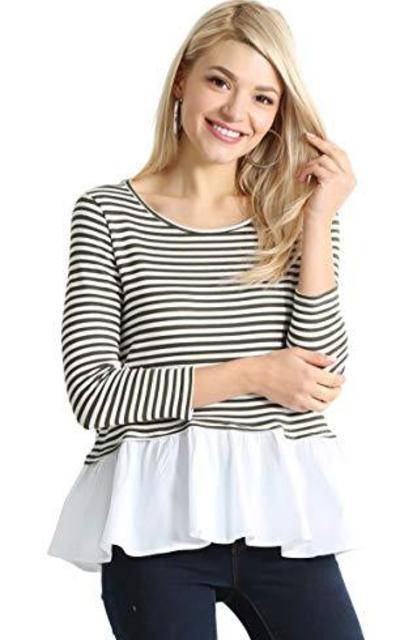 Striped White Ruffle Tshirt