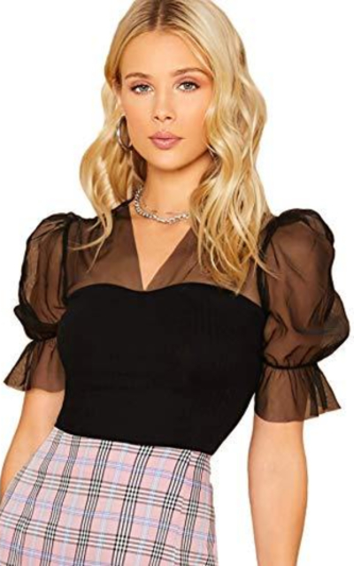 DIDK Lace Sheer Top