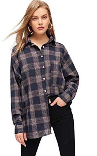 SweatyRocks Roll up Sleeve Collar Plaid Button Down Shirt