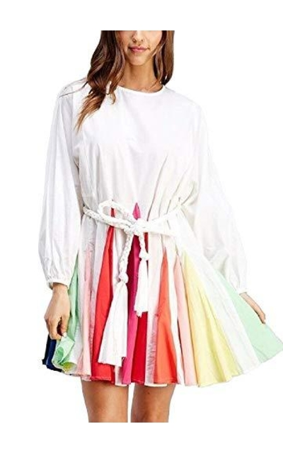 Multi-Color Pleated A-Line Mini Dress