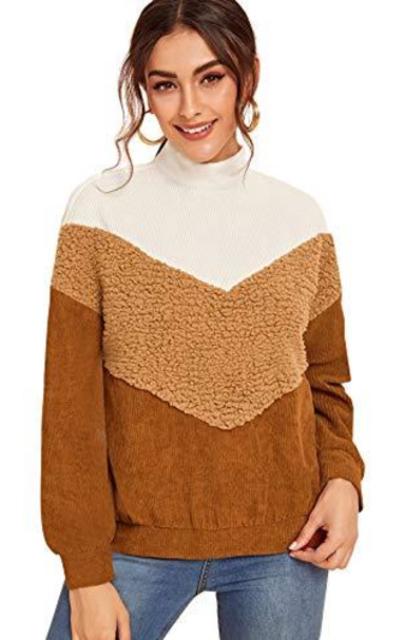 ROMWE Colorblock Pullover Sweatshirt Top