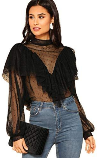 Verdusa Dot Print Ruffle Layered Mesh Blouse