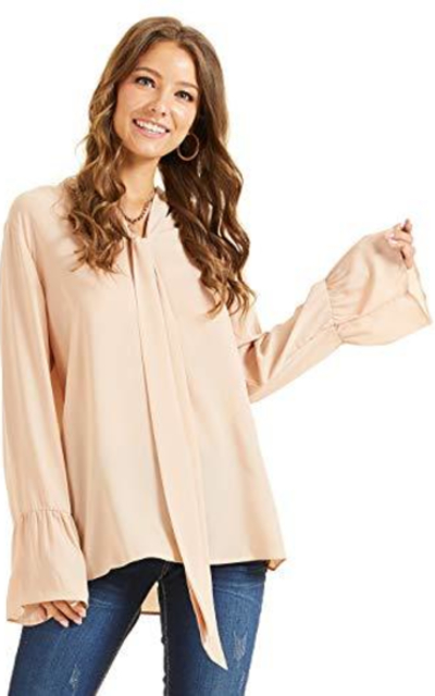 SONJA BETRO Tie Neck Bell Sleeve Tunic Top