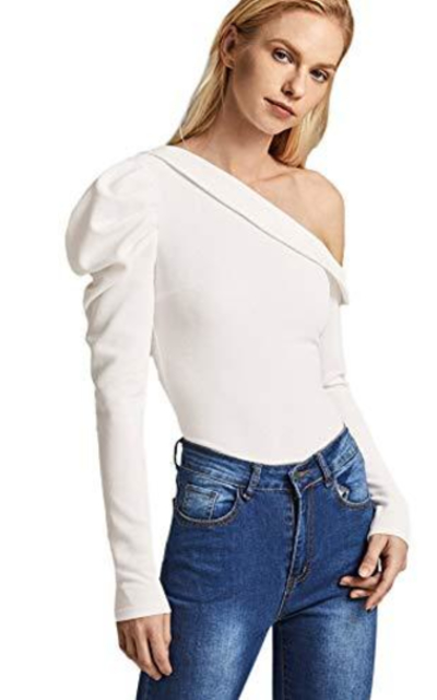 SheIn Foldover Asymmetrical Neck  Top