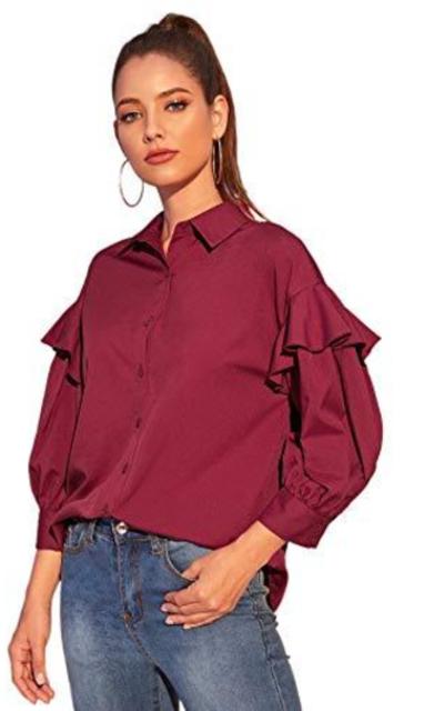 Verdusa Ruffle Trim Drop Shoulder Button Down Blouse Shirt