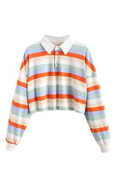 ZAFUL Cropped Striped Polo Shirt