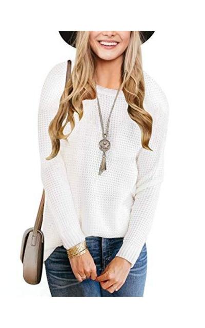 MEROKEETY Waffle Knit Sweater