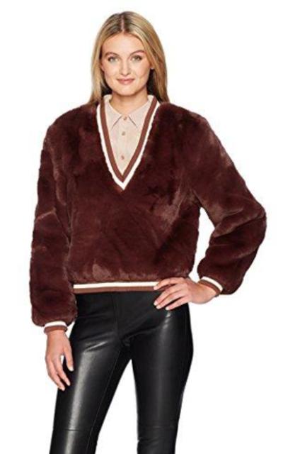 Somedays Lovin Heaty Hearts Fuzzy Faux Fur Sweater