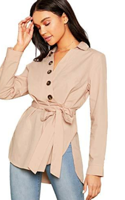 Verdusa Button Front Belted Wrap Shirt