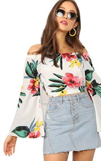 SheIn Floral Print Off Shoulder Crop Top