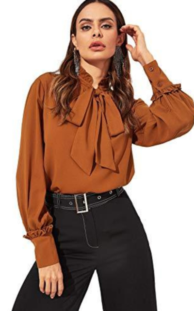 Verdusa Frill Detail Tied Neck Long Sleeve Blouse