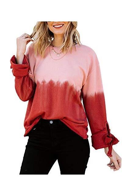 ETCYY Tie Dye Printed Cotton Color Block Sweatshirt