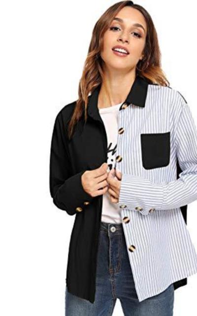 Milumia Striped Colorblock Collar Blouse Top