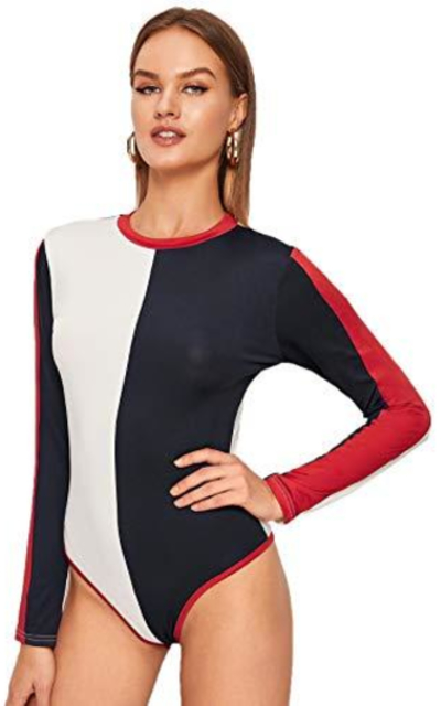MAKEMECHIC Color Block Bodysuit