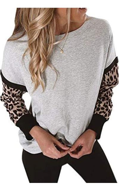 TheenkolnShirt Leopard Print Long Sleeve Sweatshirt