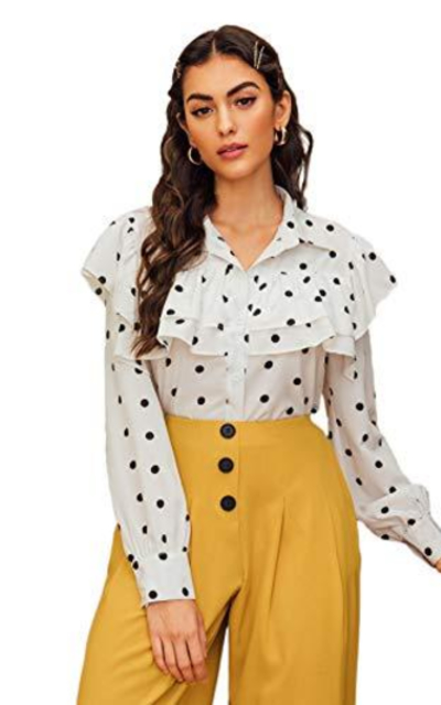 SweatyRocks Polka Dot Blouse Shirt