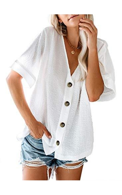 Dearlovers Button Down V Neck Top