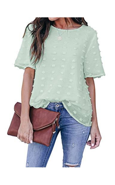 Blooming Jelly Chiffon Blouse Short Sleeve Pom Pom Tops