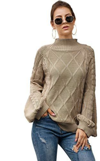 SheIn Oversized Mock Neck Puff Sleeve Sweater