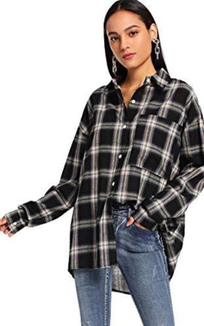 SweatyRocks Plaid Long Button Down Shirt