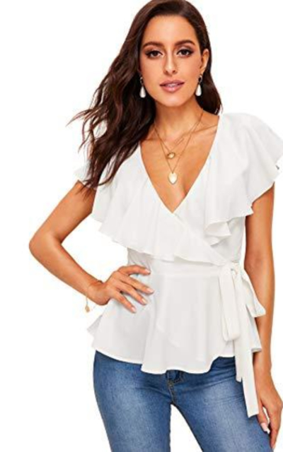 SOLY HUX Ruffle Hem Bow Tie Wrap Knotted Blouse
