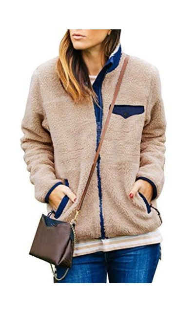 MEROKEETY Fleece Coat with Zipper Pockets