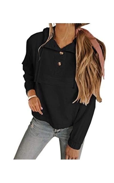 KIRUNDO Button up Drawstring Hoodie