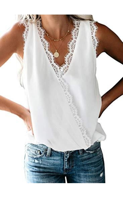 Chase Secret Lace Trim Crochet Tank Top