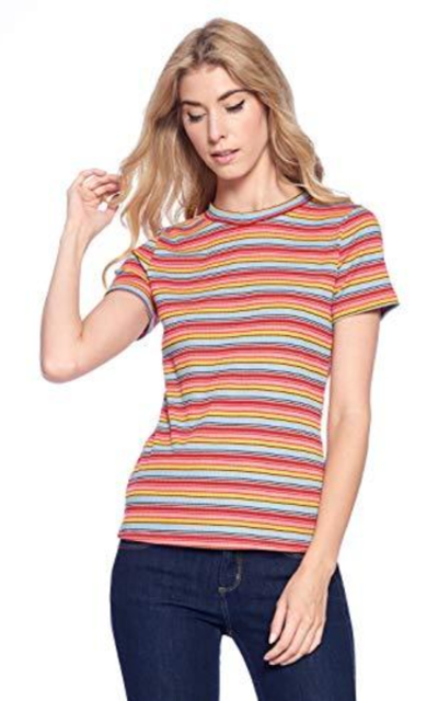Mollipia Ribbed Stripped T-Shirt
