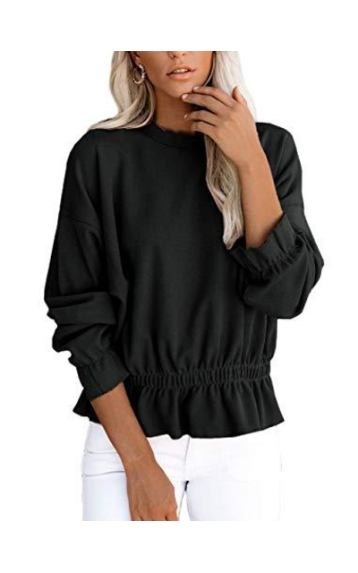 For G and PL Puff Sleeve Tops Elastic Waisted Ruffle Shirt