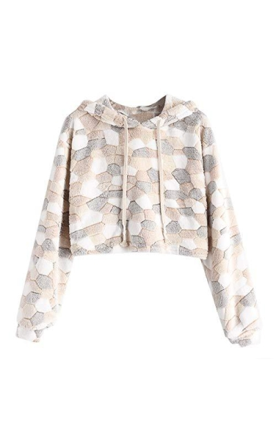 ZAFUL Faux Fur Color Crop Pullover Sweatshirt
