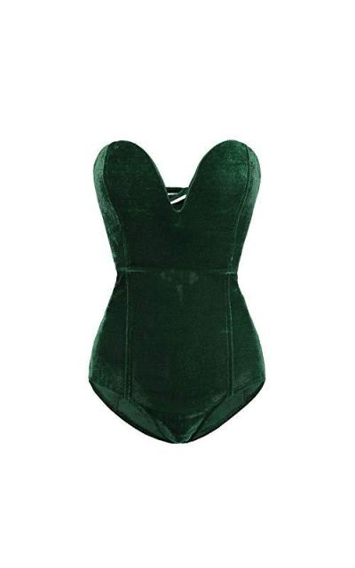 Clothink Strapless Velvet Bodysuit