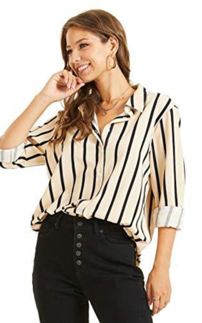 SONJA BETRO Stripe Button Down Top