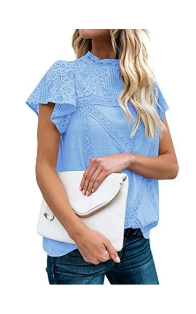 WLLW Short Sleeve Lace Top