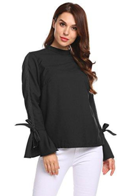 Zeagoo Mock Neck Flare Sleeve Bow Tie  Top