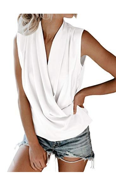 FARYSAYS Casual V Neck Wrap Drape Tank Top
