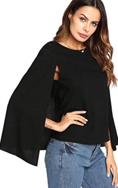 Romwe Cloak Sleeve Top