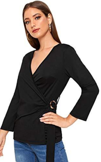 SOLY HUX Tie Knot Casual Belted Blouse