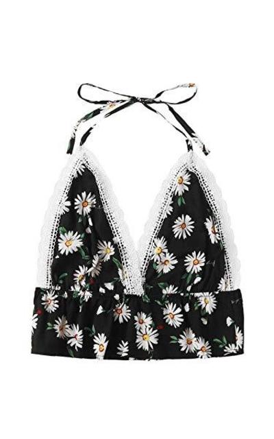 SweatyRocks Floral Print Halter Crop Cami