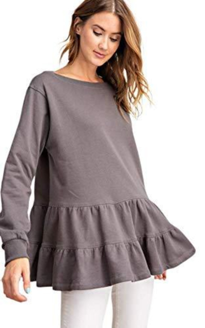 Cotton Double Ruffle Layer Bottom Tunic Top