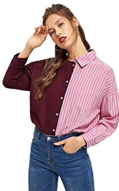SheIn Striped Spliced Button Up Blouse Shirt