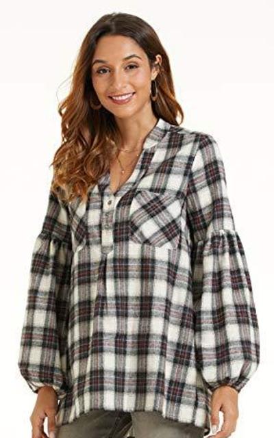 SONJA BETRO Amazon Brand Plaid Tunic Top